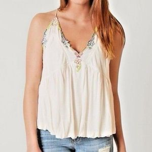 Free People Island Time Embroidered Open Tank Sz S